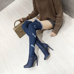 Women's Denim Stiletto Heel Pumps Knee High Boots With Others shoes