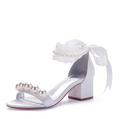 Women's Silk Like Satin Chunky Heel Peep Toe Sandals With Imitation Pearl Ribbon Tie Stitching Lace