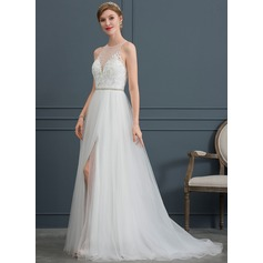 A-Line Scoop Neck Sweep Train Tulle Wedding Dress With Beading Split Front