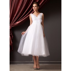 V-neck Tea-Length Organza Tulle Wedding Dress With Lace Beading Flower(s) Sequins