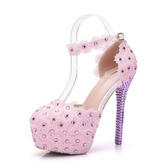 Leatherette Stiletto Heel Closed Toe Platform Pumps With Rhinestone Stitching Lace