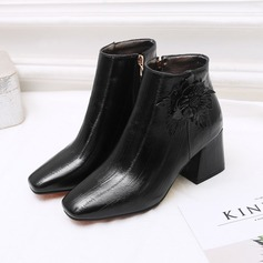 Women's Leatherette Chunky Heel Boots Closed Toe With Flower
