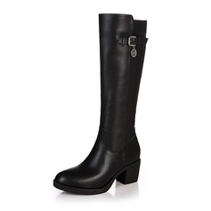 Women's Leatherette Low Heel Pumps Platform Closed Toe Boots Knee High Boots With Buckle shoes