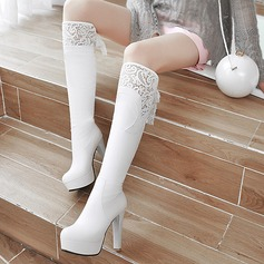 Women's PU Chunky Heel Pumps Platform Knee High Boots With Others shoes