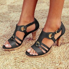 Women's PU Stiletto Heel Sandals Pumps Peep Toe With Buckle shoes (087205681)