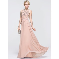 A-Line/Princess Scoop Neck Floor-Length Chiffon Prom Dress With Beading Sequins