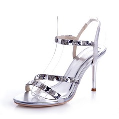 Satin Stiletto Heel Sandals Pumps With Rhinestone shoes