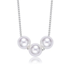 Ladies' Shining S925 Sliver With Round Pearl Necklaces For Bride/For Bridesmaid/For Friends