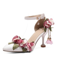 Women's Leatherette Stiletto Heel Pumps With Applique Flower shoes