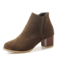 Women's Suede Chunky Heel Pumps Closed Toe Boots Ankle Boots With Split Joint shoes