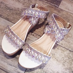 Frauen Microfaser-Leder Flascher Absatz Peep Toe Plateauschuh Sandalen Beach Wedding Shoes mit Strass Pailletten