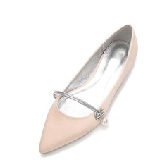 Women's Silk Like Satin Low Heel Closed Toe Flats MaryJane With Bowknot Imitation Pearl Rhinestone