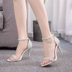 Kids' Leatherette Stiletto Heel Peep Toe Platform Sandals With Rhinestone