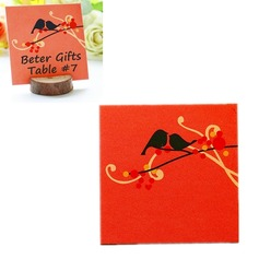 "Cute Animal/""Love Bird"" Square Card Paper Table Number Cards"