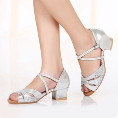 Kids' Leatherette Sparkling Glitter Heels Latin Dance Shoes