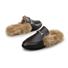 Women's Leatherette Flat Heel Flats With Buckle Fur shoes