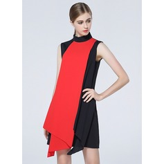 Polyester With Stitching/Print Asymmetrical Dress (199127747)