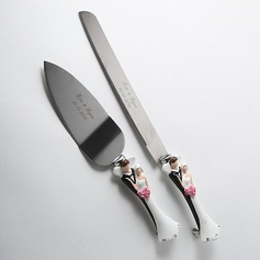 Personalized Bride And Groom Stainless Steel Serving Sets (051028945)