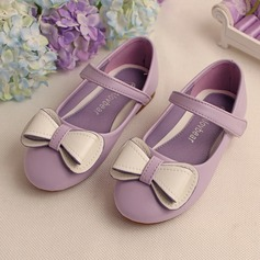 Girl's Real Leather Flat Heel Flats Flower Girl Shoes With Bowknot Velcro
