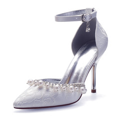 Women's Lace Stiletto Heel Pumps With Rhinestone Pearl