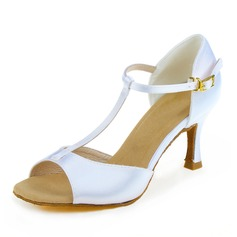 Women's Satin Heels Sandals Latin Dyeable Shoes With T-Strap Dance Shoes