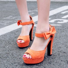 Women's Leatherette Stiletto Heel Sandals Pumps Platform Peep Toe With Bowknot shoes