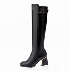 Women's Leatherette Chunky Heel Over The Knee Boots With Rhinestone shoes (088097399)