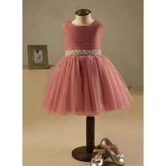 A-Line/Princess Knee-length Flower Girl Dress - Polyester/Cotton Sleeveless Scoop Neck With Beading/Sequins