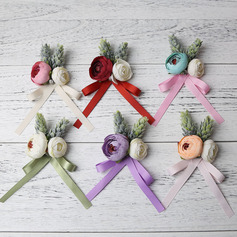 Simple And Elegant Free-Form Cloth Boutonniere (set of 6) - Boutonniere
