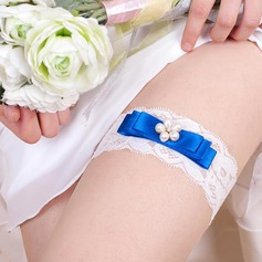 Fashion Satin/Lace With Imitation Pearls Wedding Garters