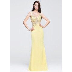 Sheath/Column Sweetheart Floor-Length Chiffon Prom Dresses With Beading Appliques Lace Sequins