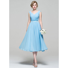 V-neck Tea-Length Chiffon Bridesmaid Dress With Ruffle (266195767)
