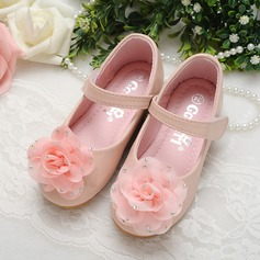 Girl's Leatherette Flat Heel Round Toe Mary Jane Flats With Satin Flower Velcro Crystal