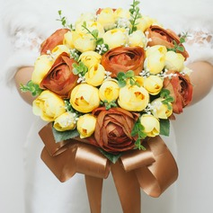 Colorful Round Artificial Silk Bridesmaid Bouquets