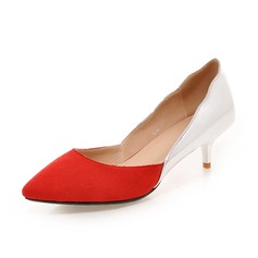 Women's Suede Low Heel Pumps Closed Toe shoes