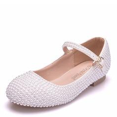 Jentas Round Toe Lukket Tå Mary Jane Leather Flate sko med Spenne Imitert Perle Perle