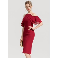 Sheath/Column Square Neckline Knee-Length Chiffon Cocktail Dress With Cascading Ruffles (270194093)