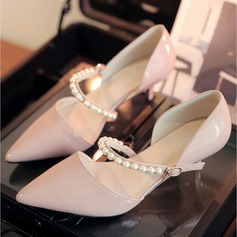 Women's Patent Leather Stiletto Heel Closed Toe Pumps With Buckle Imitation Pearl