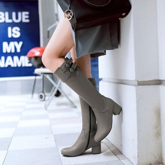 Women's Leatherette Chunky Heel Boots Knee High Boots With Buckle Zipper shoes (088125606)