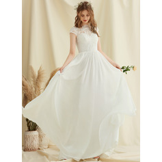 Scoop Neck Floor-Length Chiffon Lace Wedding Dress (265252263)
