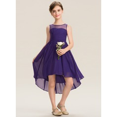 Scoop Neck Asymmetrical Chiffon Junior Bridesmaid Dress With Ruffle (268200768)