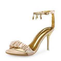 Women's Silk Stiletto Heel Sandals Peep Toe With Ruffles Chain shoes