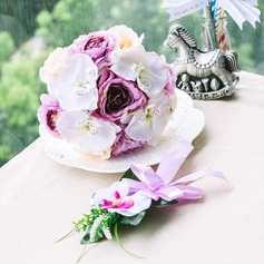 Sweet Round Satin Flower Sets(Including Boutonniere, Bridal Bouquets)