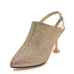 Women's Sparkling Glitter Stiletto Heel Sandals Pumps Closed Toe Slingbacks With Buckle shoes