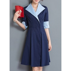 Polyester With Stitching Knee Length Dress (199134297)