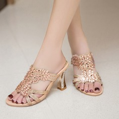 Women's Sparkling Glitter Stiletto Heel Sandals Slippers With Rhinestone Jewelry Heel shoes (087124620)