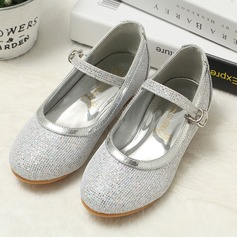 Girl's Round Toe Sparkling Glitter Low Heel Flats Flower Girl Shoes