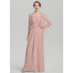 Jumpsuit/Pantsuit Square Neckline Floor-Length Chiffon Lace Mother of the Bride Dress