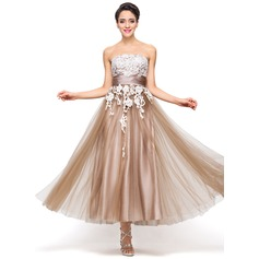 A-Line/Princess Strapless Ankle-Length Satin Tulle Holiday Dress With Appliques Lace (020056712)