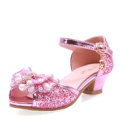 Girl's Peep Toe Microfiber Leather Low Heel Pumps With Bowknot Buckle Rhinestone Sparkling Glitter
